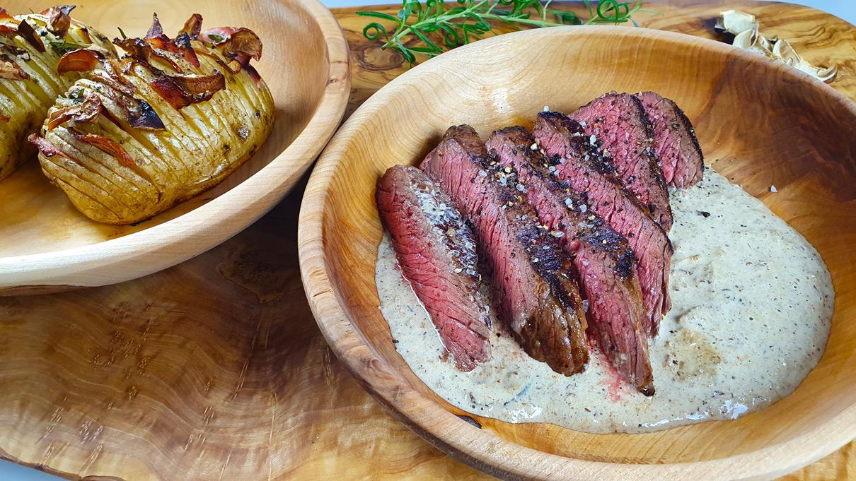 Hovězí steak a omáčka ze sušených hub